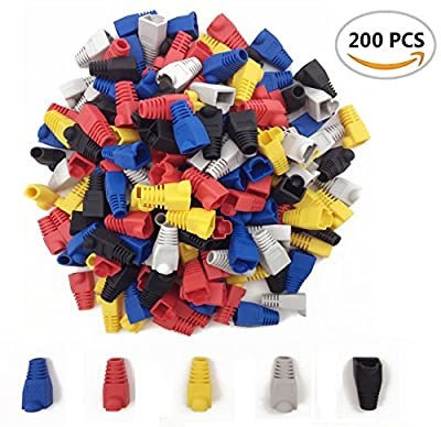 200PCS Fireboomoon Soft Plastic Ethernet RJ45 Cable Connector Boots Plug Cover, Network Cable Boots Cap Cover.(Five Color)