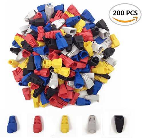 Cable Network Covers (200PCS Fireboomoon Soft Plastic Ethernet RJ45 Cable Connector Boots Plug Cover, Network Cable Boots Cap Cover.(Five Color))