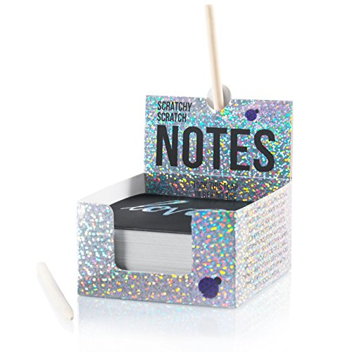 Scratch Off Mini Notes + 2 Stylus Pens: 150 Sheets of Black Note Paper with Silver Hologram Glitter OR Rainbow drop pattern for Kids Art and Craft Projects, Doodling & Lists