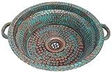 Egypt gift shops Countertop Vessel Oxidized Copper Handles Design Bathroom Pan Panning Sink Toilet Lavatory Wash Basin Hand Hammered Edge