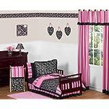 Pink and Black Madison Girls Boutique Toddler Bedding 5 pc Set