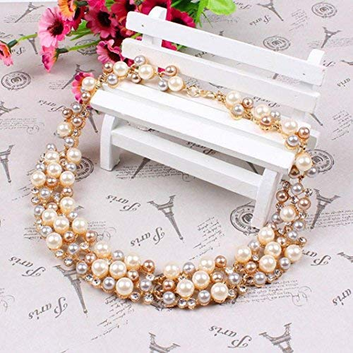 DIVISTAR Bluelans Womens Party Wedding Jewellery Sets Elegant Rose Gold Plated Faux Pearl Crystal Collar Necklace Earrings Set