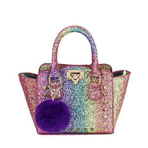 CMK Trendy Kids My First Shinny Glitter Rainbow Purse for Little Girls Toddlers Mini Tote with Poms (80003_Rainbow) by CMK Trendy Kids (Image #1)