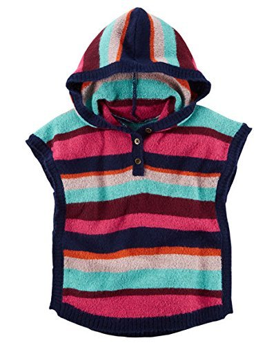 Carters Little Girls Striped Pullover Button Front Hooded Poncho Sweater - Striped Poncho Girls