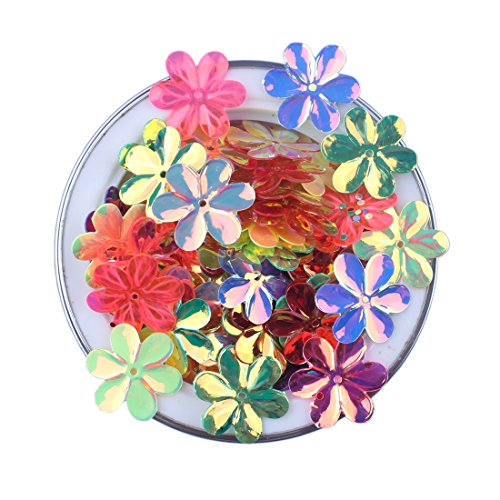 ZIJING 3D Flower Shape Sequins Gold Silver Colors Red Blue Pink Purple Green Loose Sequins for Embroidery, Applique, Knitting, Arts, Crafts, and Embellishment (15mm A Set)