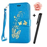 Motorola Moto G 2nd Generation Case,Moto G2 Wallet Case,TOYYM Premium PU Leather Flip Case Magnetic Cover with Card slots and Stand for Moto G2,Luxury Wallet Pouch with Gilding Gold Butterfly for Motorola Moto G2+Free Flower Dust Plug+Free Stylus,Blu