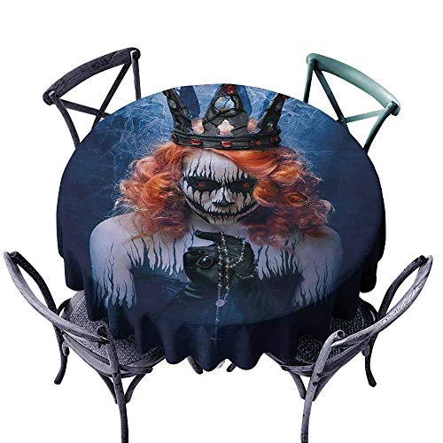 Lcxzjgk Washable Tablecloth Queen Queen of Death Scary Body Art Halloween Evil Face Bizarre Make Up Zombie Navy Blue Orange Black Easy to Clean D35]()