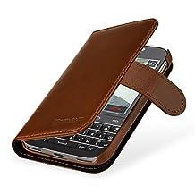 StilGut Talis, Genuine Leather Wallet Case, Cover for for BlackBerry Classic, Cognac Brown