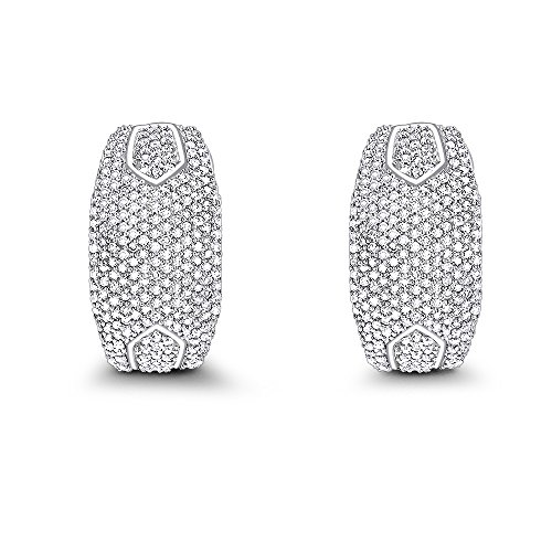 Luxurman 14K Pave Set Natural 1 Ctw Sparkling Diamond Earrings (White Gold)