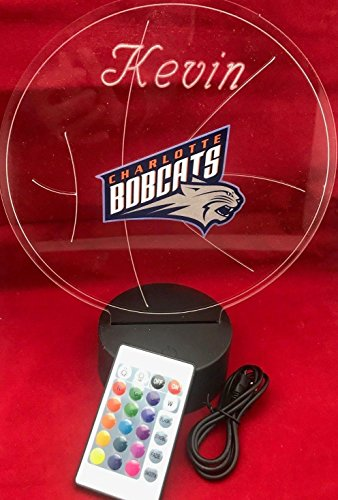 Charlotte Beautiful Handmade Acrylic Personalized Bobcats NBA Basketball Light Up Light Lamp LED Lamp, Our Newest Feature - It's WOW, With Remote,16 Color Options, Dimmer, Free Engraved, Great Gift