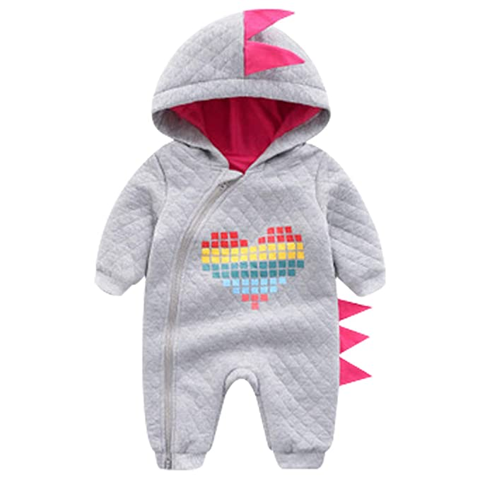 de43e470b Famuka Newborn Baby Hooded Fleece Romper Snowsuit Infant Onesies Dinosaur  Jumpsuit Fall Winter Outwear Outfits: Amazon.co.uk: Clothing