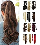 Wrap Around Synthetic Ponytail One Piece Heat Resistant Magic Paste Pony Tail Long Wavy Curly Soft Silky for Women Lady Girls 17'' / 17 inch (medium brown)