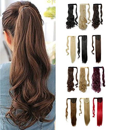 [Wrap Around Synthetic Ponytail One Piece Heat Resistant Magic Paste Pony Tail Long Wavy Curly Soft Silky for Women Lady Girls 17'' / 17 inch (medium] (Glamour Costumes 2016)