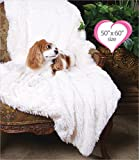 Peluche Powder Puff Shag Dog/Pet Blanket (50'' x 60'' Throw Blanket, Ivory)