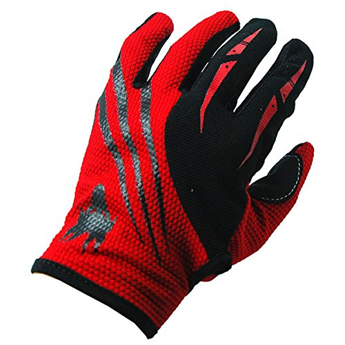 NEW Motorcycle Motocross MX ATV Dirt Bike Racing Textile Gloves Black Red, Size Large