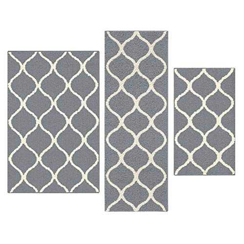 Maples Rugs Rebecca [3pc Set] Non Kid Accent Throw Rugs Runner [Made in USA] for Entryway and Bedroom, Grey/White from Maples Rugs