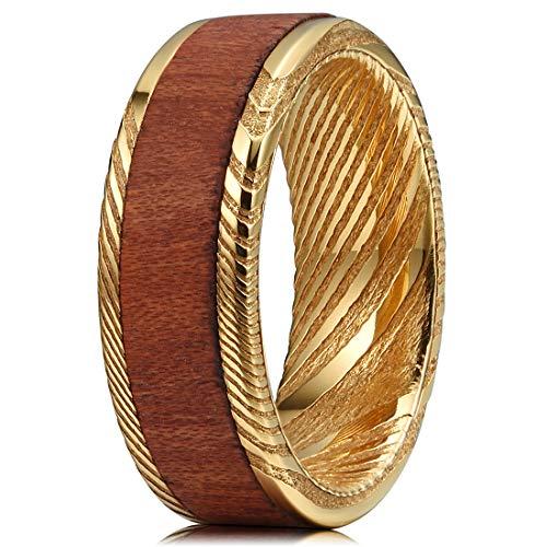 Three Keys Jewelry 8mm Damascus Steel Mens Wedding Ring Wood Grain Bubinga Wood Inlay Golden Wedding Band Engagement Ring Size 12 from Three Keys Jewelry