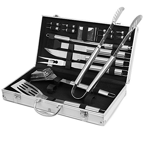 BBQ Tool Set, Sunba Youth BBQ Tools, Stainless Steel Barbecue Sets, Heavy Duty Grill Tools Set with Case, Barbecue Grilling Utensils - Spatula, Tongs, Forks, Basting Brush, Knife & Skewers (18pcs)
