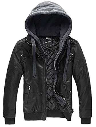 Wantdo Men's Leather Jacket with Removable Hood US Small Black(Heavy)