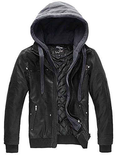 Wantdo Men's Faux Leather Jacket with Removable Hood US Small Black(Heavy)