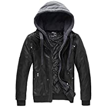 Wantdo Men's Pu Leather Jacket with Removable Hood US Large Black(Heavy)