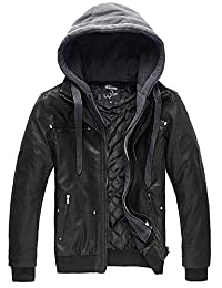 Wantdo Men's Thick Leather Jacket Warm Winter Hooded Coat(Black Heavy,X-Large)