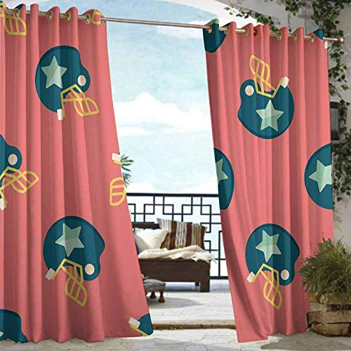 DILITECK Outdoor Waterproof Curtain Football Sports Icons with Stars Retro Display Game Safety Headgear Waterproof Patio Door Panel W96 xL84 Dark Coral Yellow Petrol Blue