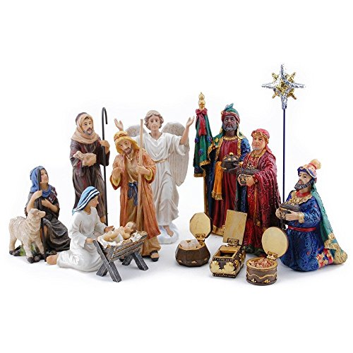 Christmas Nativities - Three Kings Gifts 14-Piece The Real Life Nativity, 7-Inch