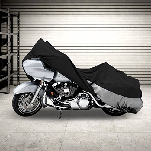 "Superior Travel Dust Motorcycle Cruiser Cover Covers : Fits Up To Length 107"" All Cruiser Bikes Metric Touring Harley Davidson Yamaha Honda Suzuki Kawasaki Ducati Bmw Aprilia Triumph Buell"