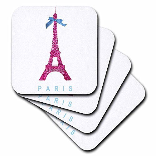 (3dRose Hot Pink Eiffel Tower from Paris with girly blue ribbon bow - White stylish Parisian France souvenir - Soft Coasters, set of 4 (cst_112907_1))