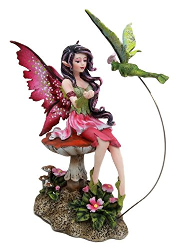 Atlantic Collectibles Amy Brown Whimsical Pink Elf Fairy With Flying Flower Frog Fairy Messenger Decorative Figurine 6.75