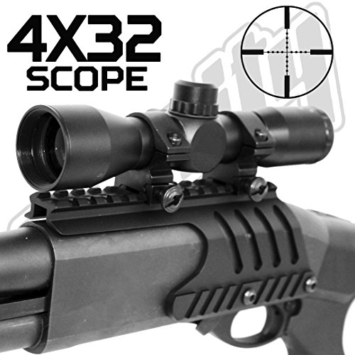 4x32 Compact Tactical Scope Mildot Reticle W/Remington 870 Scope Base, Single Rail Mount.
