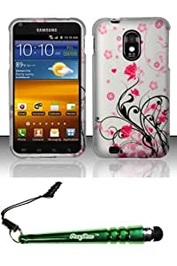 FoxyCase(TM) FREE stylus AND For Samsung Epic Touch 4G D710 Galaxy S2 (Sprint) Rubberized Design Case Cover Protector - Pink Vines Desire Safe Phone cas couverture