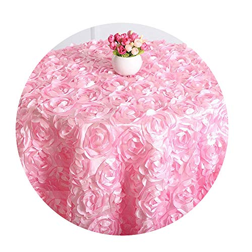 COOCOl Round Table Cloth Rosette Embroider Table Cover 3D Rose Flower Design for Wedding Party Hotel,Pink,180Cm Round]()