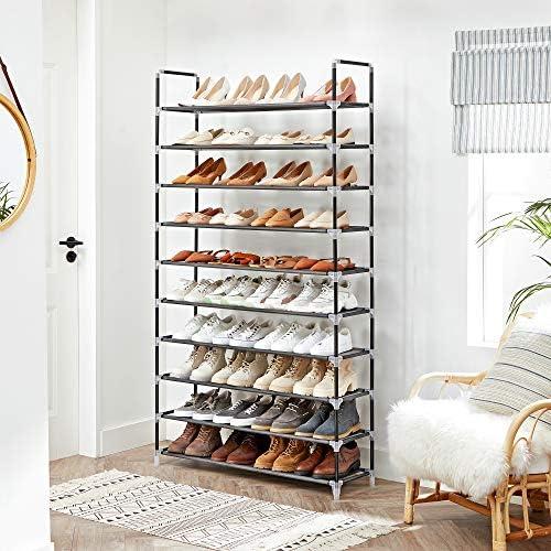 SONGMICS Shoe Rack Storage Organizer, 10-Tier Shoe Tower, Holds 50 Pair of Shoes, Black ULSH11H