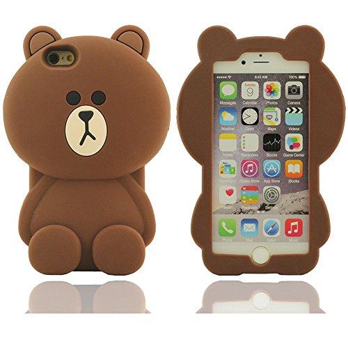 iPhone 6 Hülle,iPhone 6 case,Kreatives Design Bär-Form-weicher Silikon-Schutzhülle für Apple iPhone 6 Hülle 4.7 inch(braun)