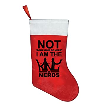 i am the king of nerd funny christmas stockings hanging craft socks party decorations gift - Funny Christmas Stockings
