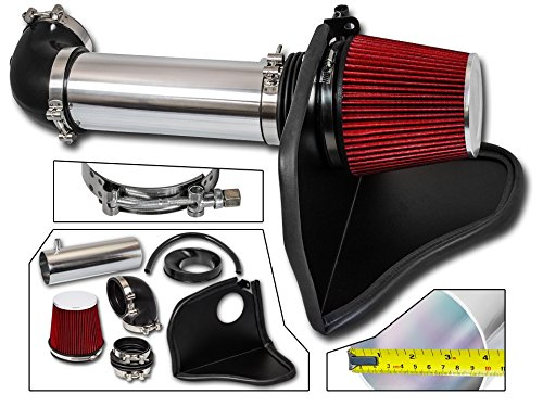 Cold Air Intake System with Heat Shield Kit + Filter Combo RED Compatible For 05-08 Dodge Magnum / 06-08 Dodge Charger / 05-10 Chrysler 300/08-10 Dodge Challenger HEMI 5.7L / 6.1L V8 (Heat Shield Filter)