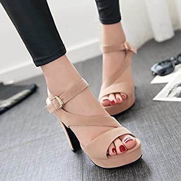 2eceda9ec419f7 LGK FA Summer Women S Sandals Summer Sandals Women Buckle Belt Nightclub Heel  High-Heeled Shoes Fish