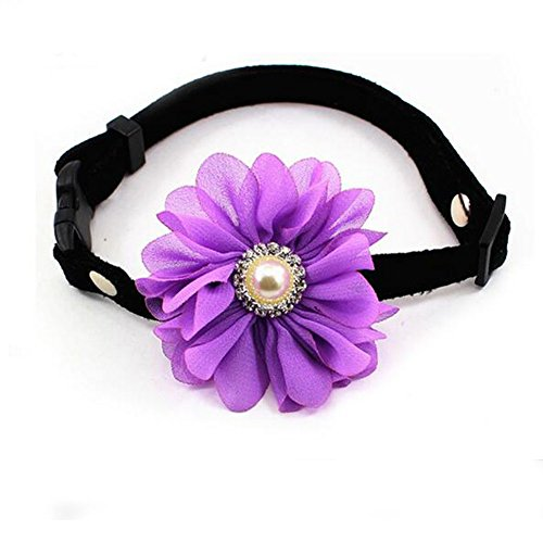 Suede New Born Dog Collar, Handmade Purple Big Chiffon Yarn Flowers Decor, 7.5-11.5 Adjustable, for Small Dogs Cats Puppy