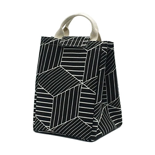 Mziart Reusable Lunch Bag, Foldable Canvas Lunch Tote Travel Bag Lunch Box Holder Bento Cooler Bag for Women Men Kids Adults (Geometric Pattern - Black)