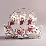 Bone China The butterfly lingers over the flower Printed Ceramic Porcelain Tea Cup Tea Set With Lid And Saucer,Coffee Set of 15