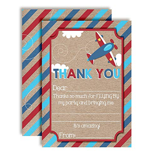 Flying By Airplane-Themed Thank You Notes for Kids, Ten 4