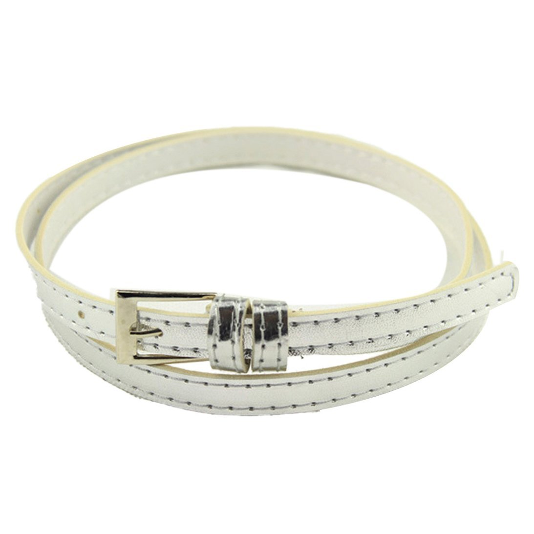 Sunward Woman Multicolor Small Candy Color Thin Leather Belt Ms Belt (Silver)