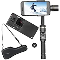 Hohem 3-Axis Gimbal Alluminum Stabilizer W/ Plate for Smartphone Up To 6 Like iPhone 7 Plus/6 Plus and Gopro, Wireless Control Vertical Shooting Panorama Mode Tracking Zoom In/Out, Gold