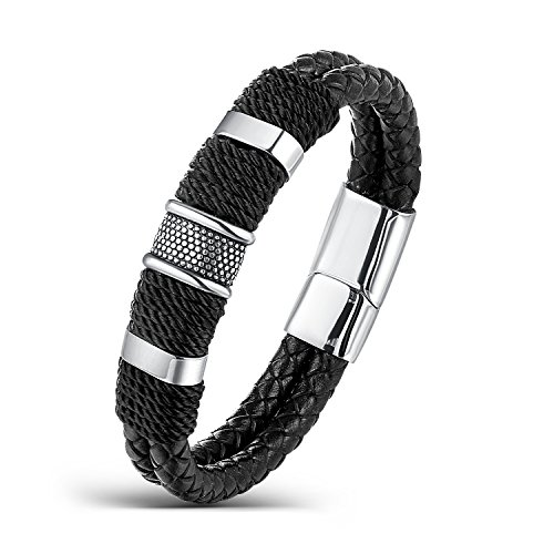 Areke Punk Rock Charms Bangle Bracelets For Mens,Braided Wrist Leather Bracelet Stainless Steel Clasp Item Length 8.0 inch