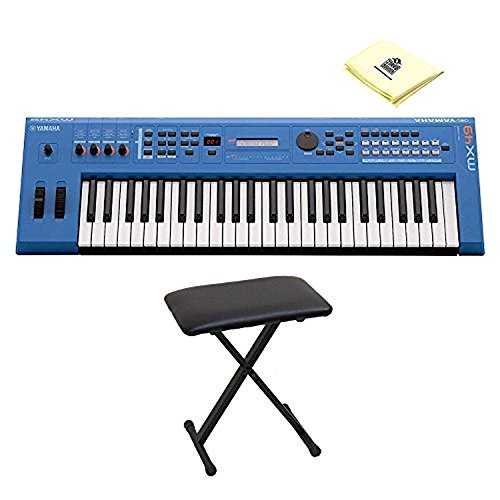 Yamaha MX49BU 49 Key Music Production Synthesizer Keyboard with Full size Velocity sensitive Keys and Bundled Software with Keyboard Bench and Zorro Sounds Keyboard Cloth
