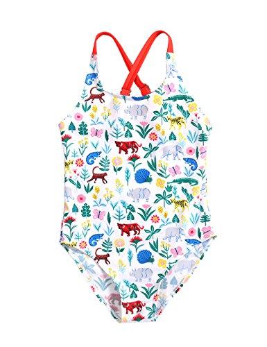 (FreeLu Baby Girls' One Piece Cartoon Swimsuit Animal Print Bathing Suit Ruffles Swimwear Cute Baby Bikini Beachwear(8# Animal,7-8Yrs))
