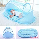 ixaer Lovely Portable Folding Summer kids Crib Cradle Mosquito Net Mesh Tent Canopy Mosquito Net for kids Protable Folding Anti Mousquito Bed Tent.