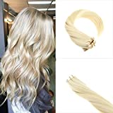 Sunny 40pcs 100g Per Set Tape in Hair Extensions Double Weft Highlighted White Blonde 60# Remy Tape in Extensions Human Hair 24 Inches For Sale
